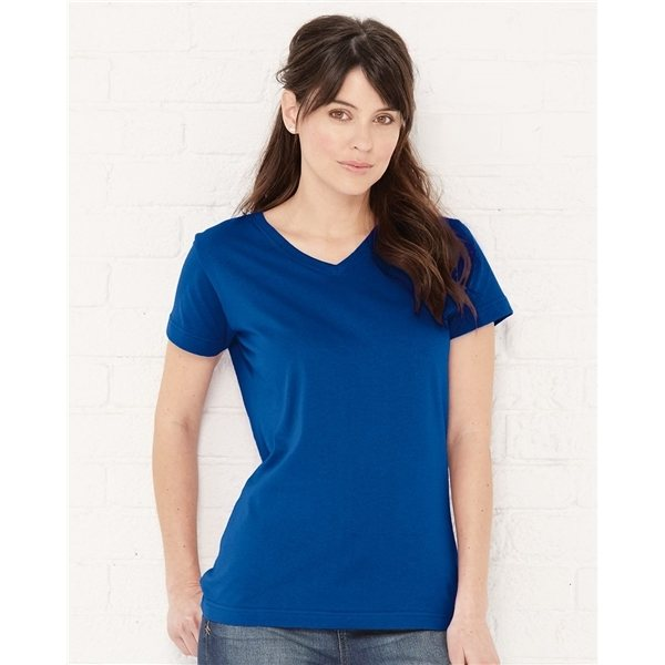 Promotional LAT Ladies V - Neck Fine Jersey T - Shirt