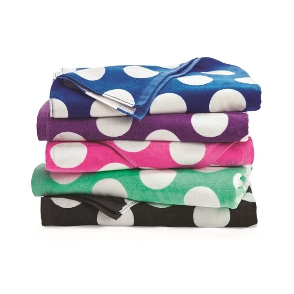 Promotional Carmel Towel Company Polka Dot Velour Beach Towel