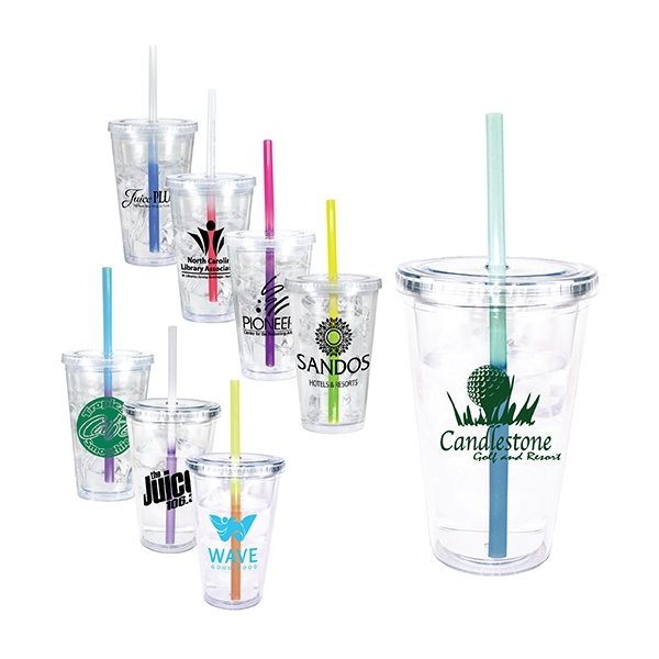 Promotional 16 oz Victory Acrylic Tumbler with Mood Straw