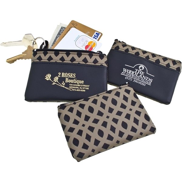 Promotional Bronze Weave Zip Purse w / Keyring