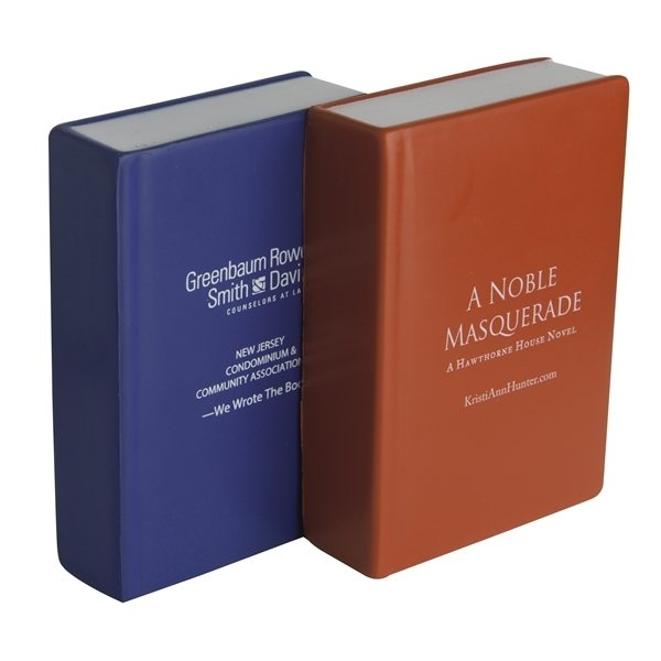 Promotional Book Squeezies Stress Reliever - Red or Blue