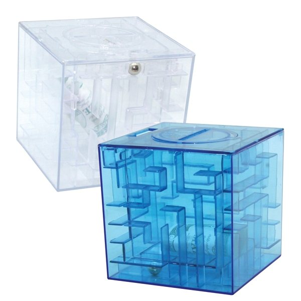 Promotional Money Maze Cube Bank - Blue or Clear