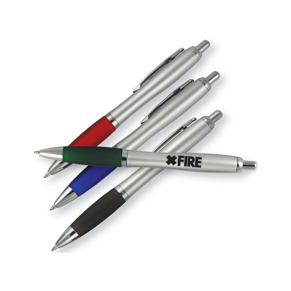 Promotional Euro Silver Barrel Color Grip Click Ballpoint Pen