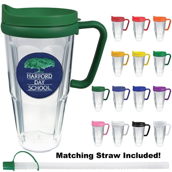 Promotional 24 oz Thermal Travel Mug With Embroidered Emblem - Plastic