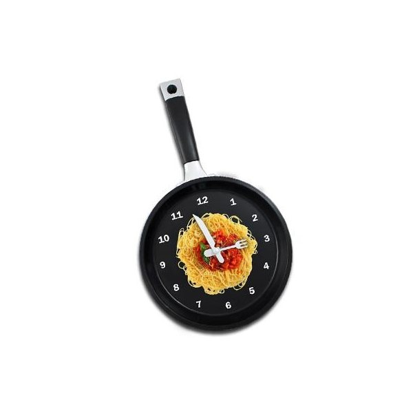 Promotional Frying Pan Clock With Spaghetti Graphic