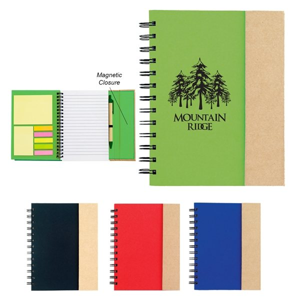 Promotional Spiral Notebook With Sticky Notes And Flags