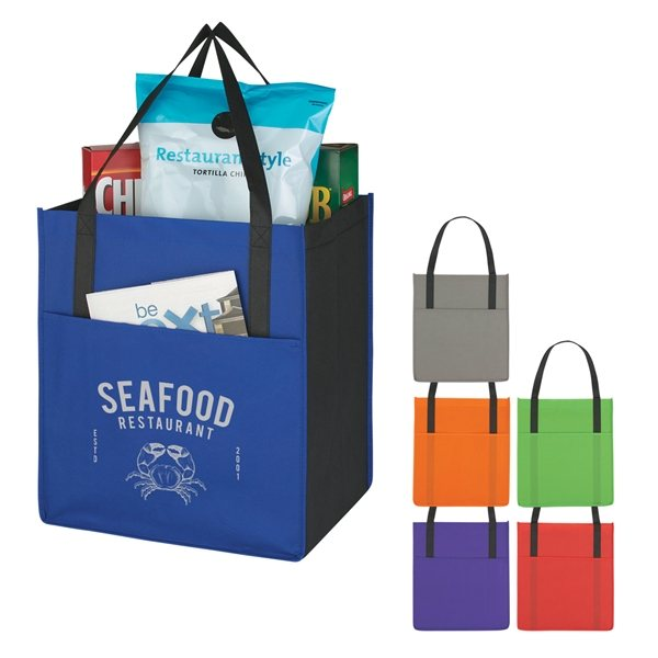 Promotional Non - Woven Shoppers Pocket Tote Bag
