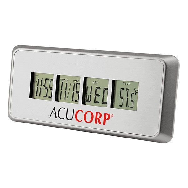 Promotional Brushed Metal Alarm Clock with Countdown Timer