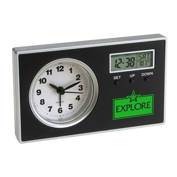 Promotional Analog Alarm Clock with Secondary Digital Display