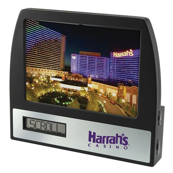 Promotional AM / FM Radio Clock Photo Frame with Scrolling Message