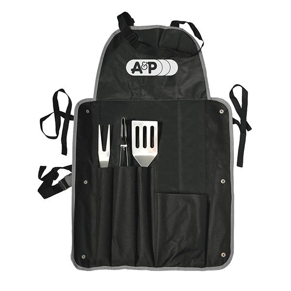 Promotional 4 Piece Barbeque (BBQ) Apron with Tongs, Spatula, and Fork
