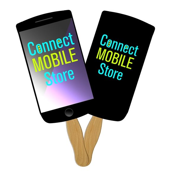 Promotional Cell Phone Sandwiched Fan Digitally Printed - Paper Products