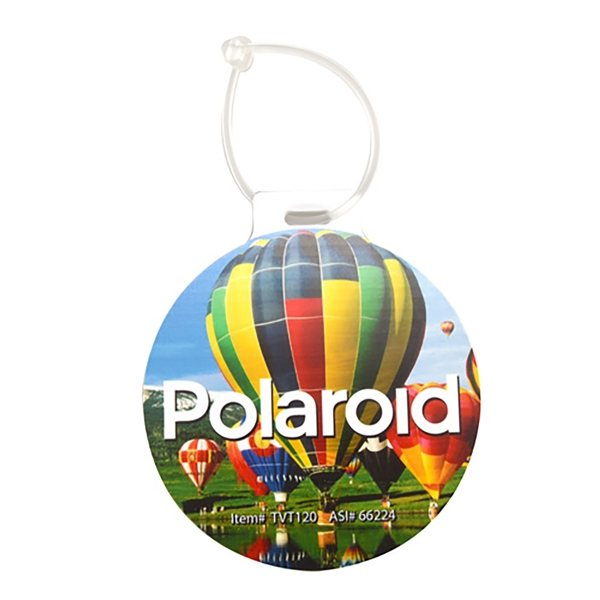 Promotional Plastic Circle Luggage Tag - 4 D