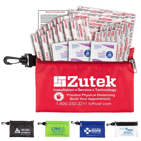 Promotional 28 Piece Multi - Bandage First Aid Kit in Supersized Zipper Pouch