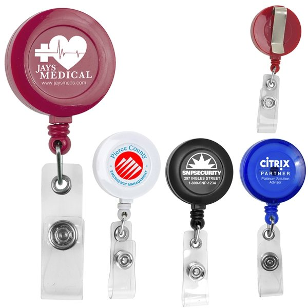 Promotional 30 Cord Round Retractable Badge Reel and Badge Holder with Metal Slip Clip Backing