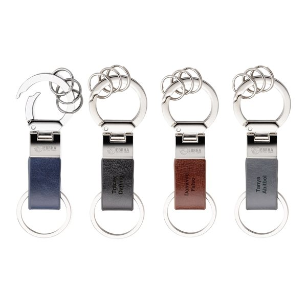 Promotional Metal and Vinyl Keychain with 3 Split Rings
