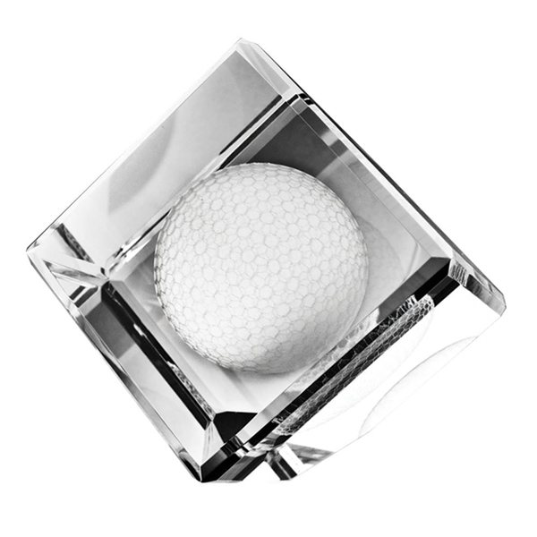 Promotional Standing Crystal Cube W / 3- D Golf Ball