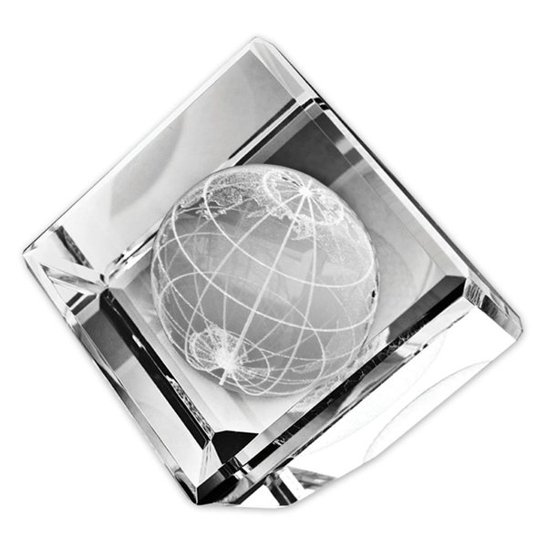 Promotional Standing Crystal Cube W / 3- D Globe