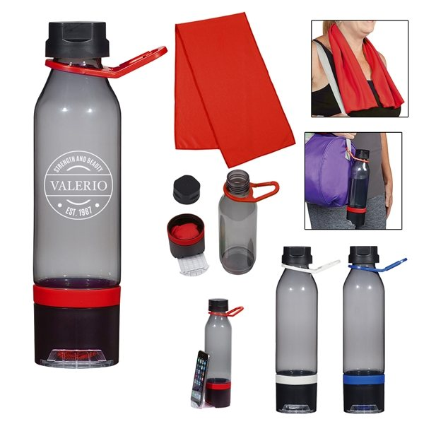 Promotional 22 oz Energy Sports Bottle With Phone Holder and Cooling Towel