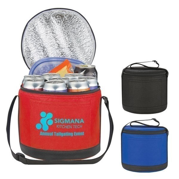 Promotional Non - Woven Cans - To - Go Round Cooler Bag
