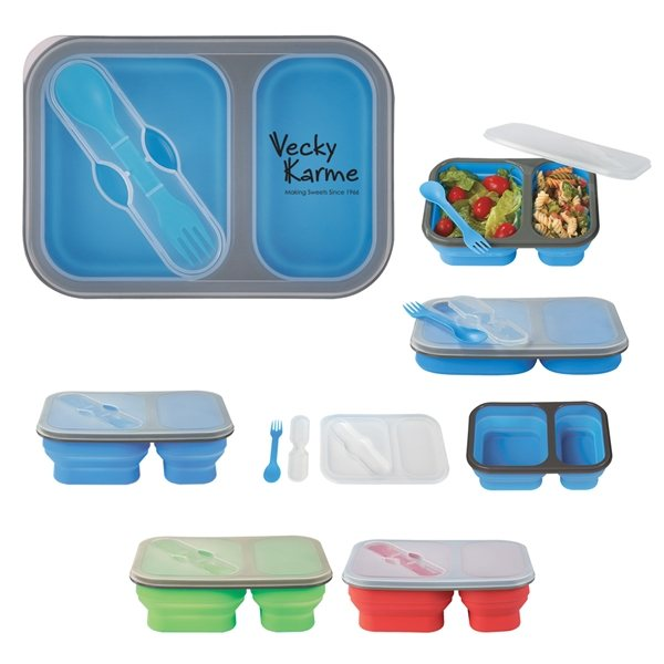Promotional Collapsible 2- Section Food Container with Dual Utensil