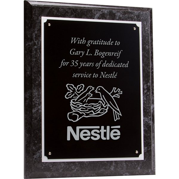 Promotional Wood Plaque - Black Marbel Finish and Black Plate