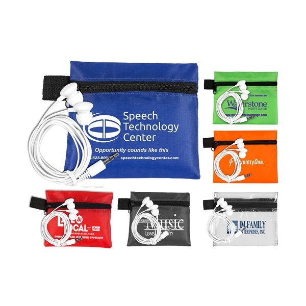 Promotional Mobile Tech Earbud Kit In Zipper Pouch Components inserted into Polyester Zipper Pouch