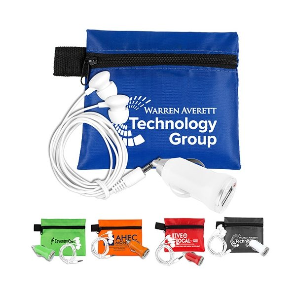 Promotional Mobile Tech Car Accessory Kit Components inserted into Polyester Zipper Pouch