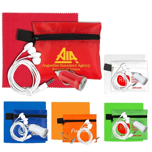 Promotional Mobile Tech Car Accessory Kit with Microfiber Cleaning Cloth