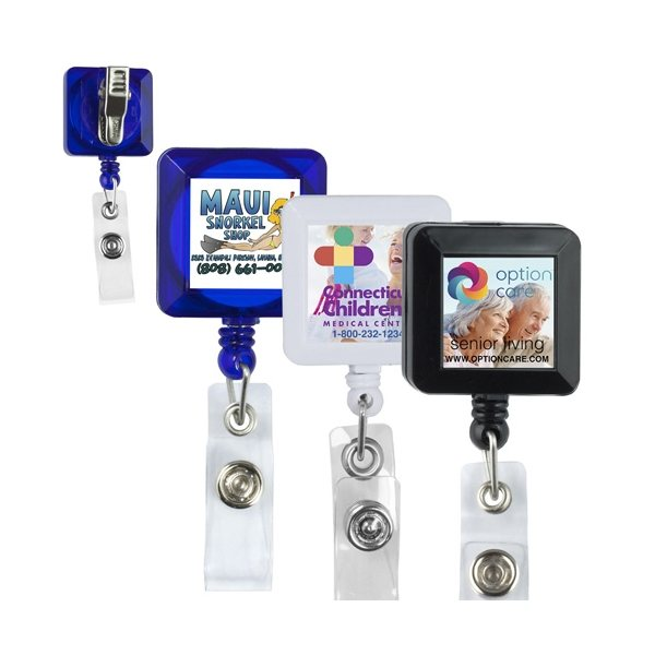 Promotional 30 Cord Square Retractable Badge Reel and Badge Holder with Metal Rotating Alligator Clip Backing