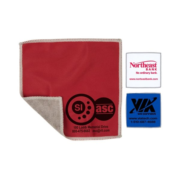Promotional 2- in -1 Spot Color Microfiber Cleaning Cloth and Towel