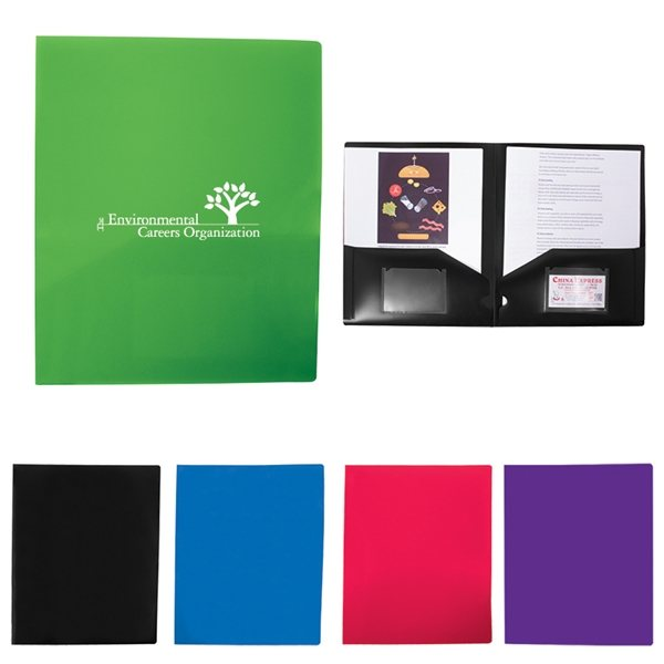Promotional 2 Pocket Folder With Business Card Slots