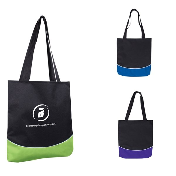 Promotional Color Curve Accent Panel Tote