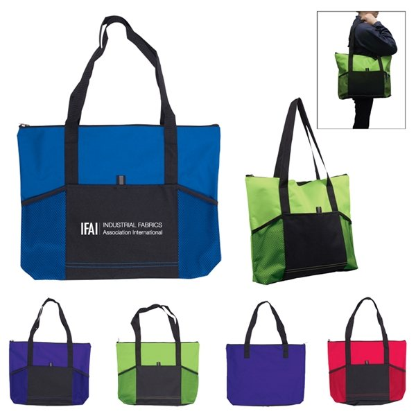 Promotional Jumbo Tradeshow Tote With Front Pockets