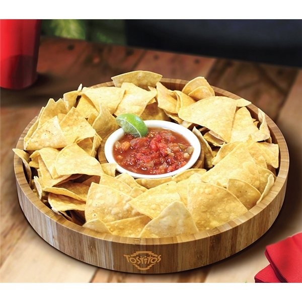 Promotional Gourmet Bamboo 2- Piece Chip Dip Tray