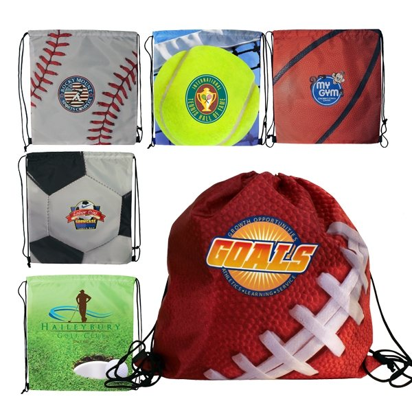 Promotional Sports Style Drawstring Backpack, Full Color Digital