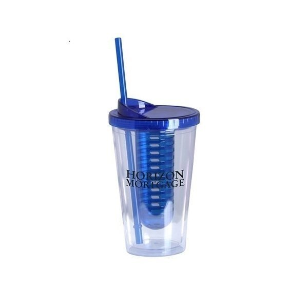 Promotional 16 oz double wall acrylic Infuse tumbler - Blue
