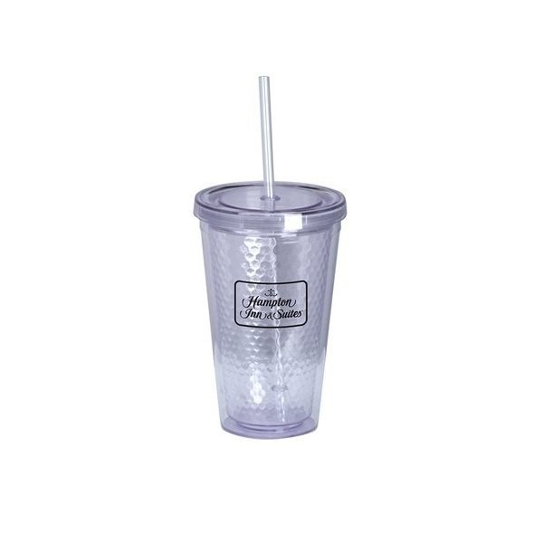 Promotional Honeycomb 16 oz Acrylic Cup w / Straw (Clear)