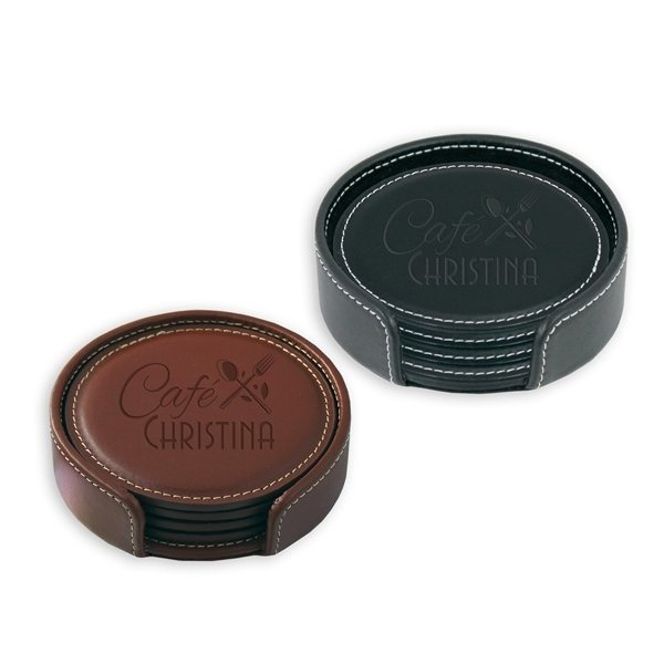 Promotional Leather Coaster Gift Set
