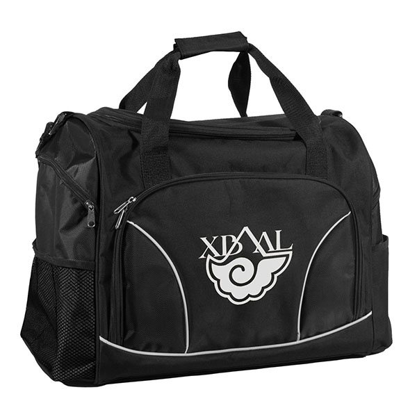 Promotional Black Sports Duffle Bag with Mesh Pockets