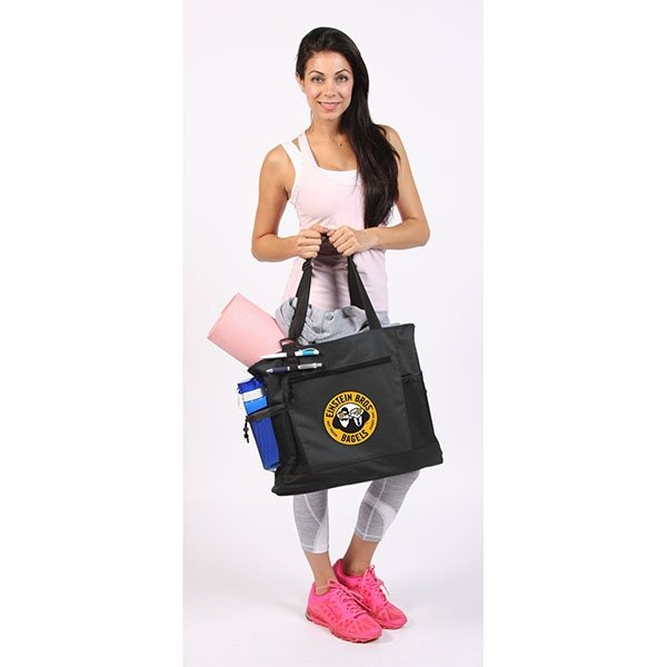 Promotional Black Polyester Deluxe Tote Bag