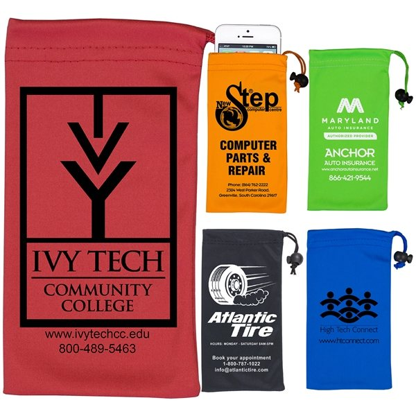Promotional Spot Color Microfiber Drawstring Pouch For Cell Phones,Eyeglasses And Other Accessories