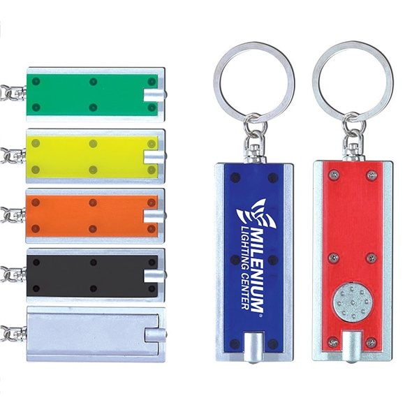 Promotional Rectangle Shaped White LED Light Key Chain
