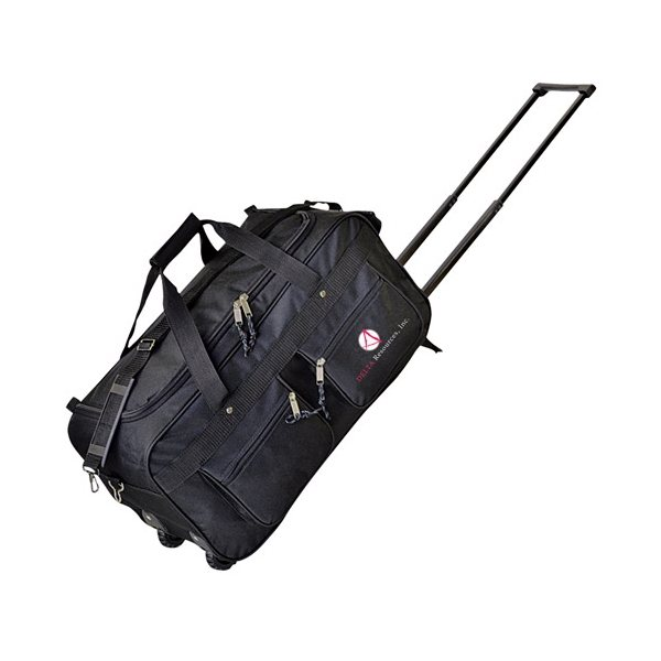 Promotional Black Polyester 30 Rolling Duffel Bag