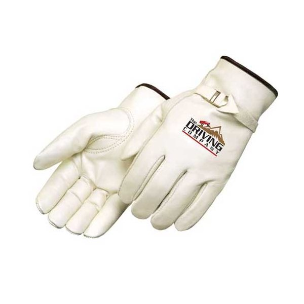 Promotional Premium Grain Cowhide Driver Glove with Pull Strap