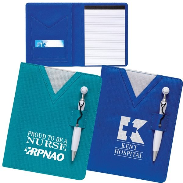 Promotional Swanky(TM) Scrubs Junior Writing Pad with Stethoscope Pen