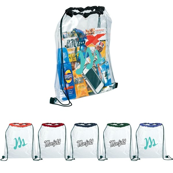Promotional Rally Clear Drawstring Bag