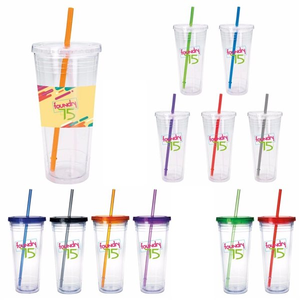 Promotional Clear Tumbler with Colored Lid - 24 oz.