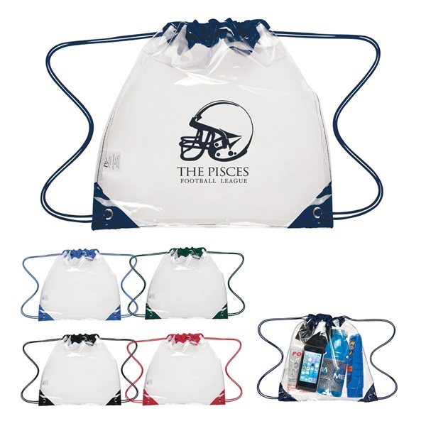 Promotional Touchdown Clear Drawstring Backpack