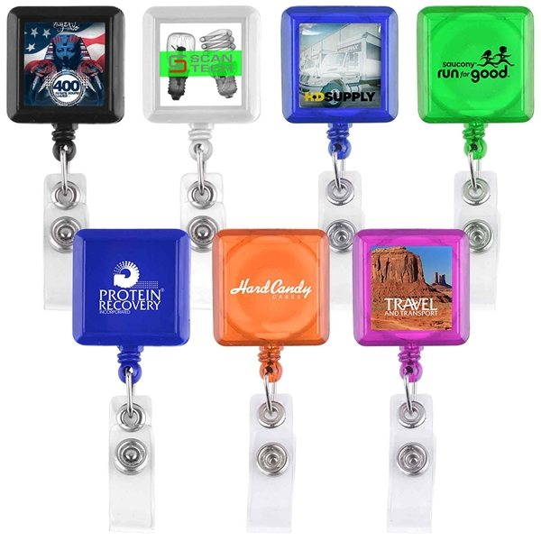 Promotional Square - Shaped Retractable Badge Holder